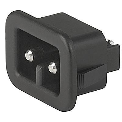 1203 Appliance inlet for low voltage, Snap-in Mounting, Front Side, Solder or Quick-connect Terminal